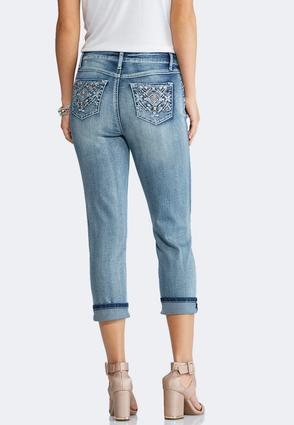 Cropped Aztec Embellished Jeans | Tuggl