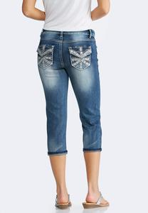 Studded Pocket Cropped Jeans