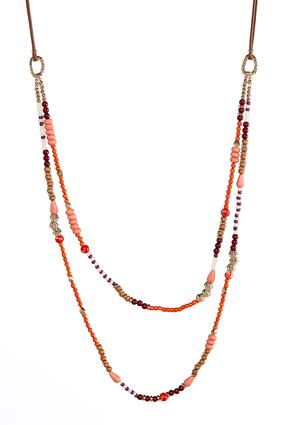Mixed Layered Bead Cord Necklace | Tuggl
