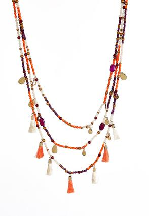 Layered Mixed Charm Beaded Necklace | Tuggl