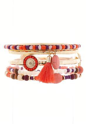 Mixed Bangle And Bead Bracelet Set | Tuggl