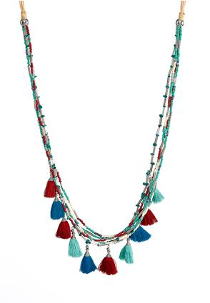 Shades Of Blue Beaded Tassel Necklace | Tuggl