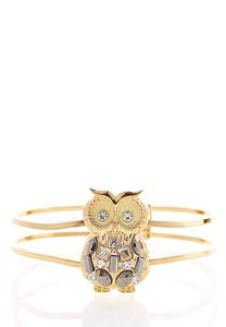 Jeweled Owl Gold Cuff Bracelet