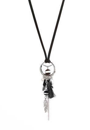 Leaf Charm Cluster Tassel Necklace | Tuggl