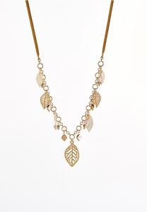 Dangling Leaf Cord Necklace