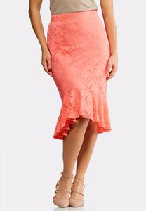 Plus Size Lace Flounced Midi Skirt
