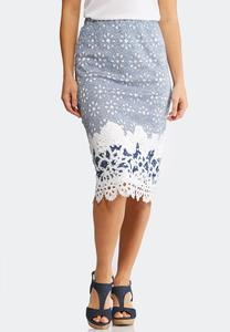 Plus Size Eyelet Striped Midi Skirt
