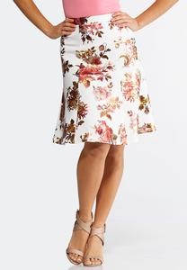 Foiled Floral Scuba Skirt