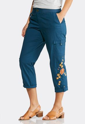 Floral Embroidered Cargo Crops