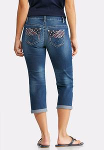 Cropped Embellished Americana Jeans