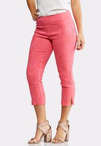 Cropped Pink Paisley Bengaline Pants