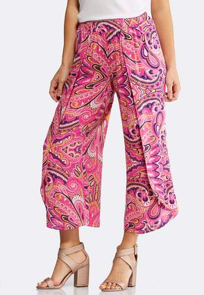 Cropped Floral Paisley Tulip Pants