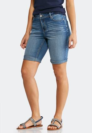 Cuffed Denim Bermuda Shorts | Tuggl