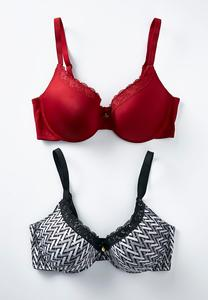 Plus Size Print And Burgundy Convertible Bra Set