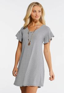 Plus Size Striped Flutter Sleeve Swing Dress