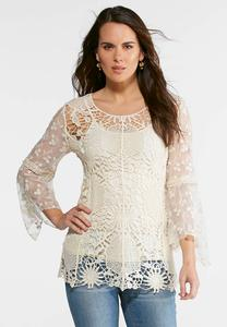 Plus Size Lace and Crochet Flutter Top