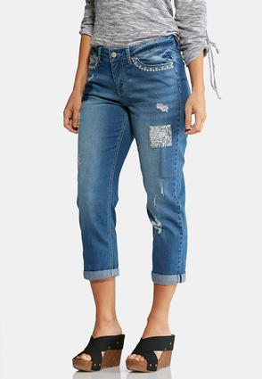 Decorative Distressed Cropped Jeans | Tuggl