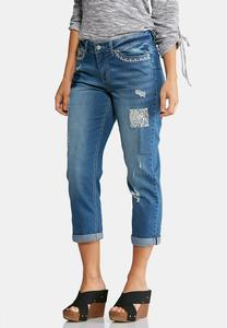 Decorative Distressed Cropped Jeans