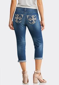 Cropped Cross Embellished Jeans