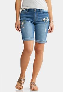 Embroidered Denim Bermuda Shorts