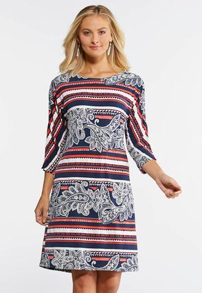 Plus Size Embellished Metal Ring Puff Print Dress | Tuggl
