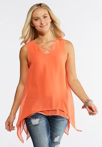 Lattice Hanky Hem Top