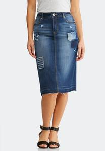 Plus Size Distressed Patchwork Denim Skirt