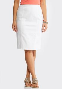 White Pull-On Pencil Skirt