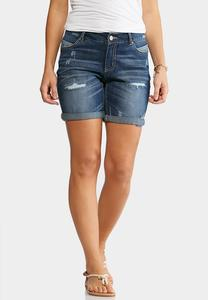 Distressed Cuffed Jean Shorts