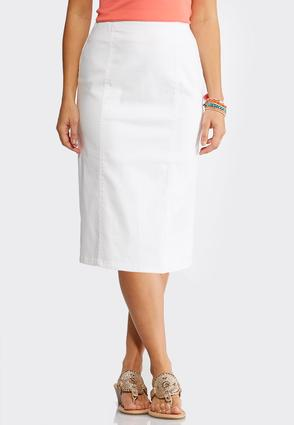 Plus Size White Pull- On Pencil Skirt