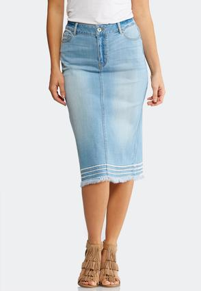 Plus Size Frayed Hem Denim Skirt | Tuggl