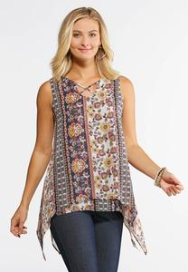 Floral Lattice Hanky Hem Top