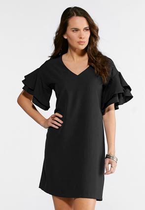 Plus Size Solid Ruffled Sleeve Shift Dress