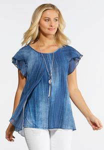 Plus Size Streaky Blue Flyaway Top