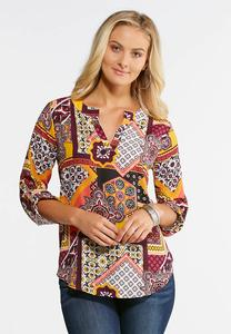 Plus Size Retro Patchwork Pullover Top