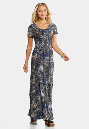 Plus Size Seamed Mixed Navy Maxi Dress