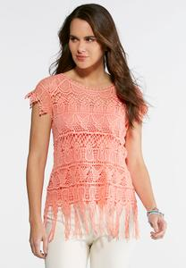 Crochet Fringe Trim Top