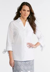 Plus Size Tie Sleeve White Button Up Shirt