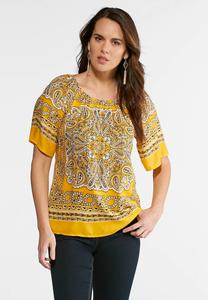 Plus Size Gold Bandana Paisley Top