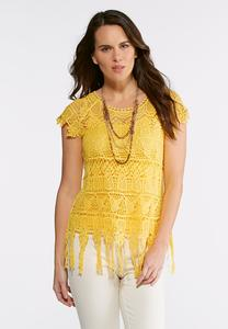 Plus Size Crochet Fringe Trim Top
