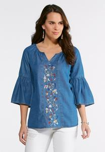 Plus Size Embroidered Denim Poet Top
