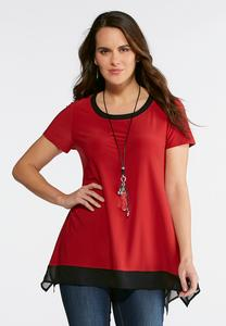 Two-Toned Chiffon Hem Top