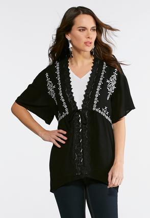 Crepe Embroidered Kimono Top | Tuggl