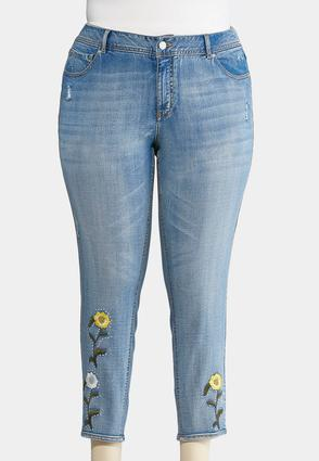 Plus Size Studded Floral Embroidered Jeans | Tuggl