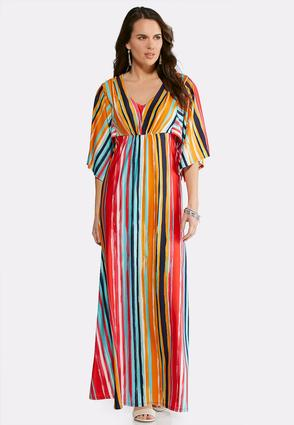 Plus Size Kimono Stripe Maxi Dress | Tuggl