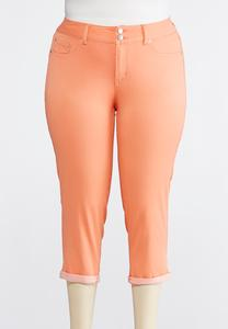 Plus Size Cropped Coral Denim Jeans