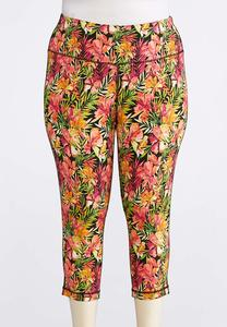 Plus Size Cropped Tropical Bloom Leggings