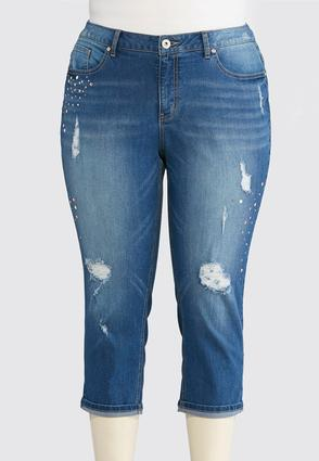 Plus Size Studded Distressed Crop Jeans