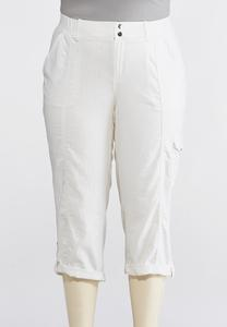 Plus Size Linen Cargo Crop Pants