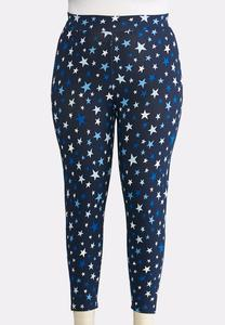 Plus Size Shades Of Blue Star Cropped Leggings